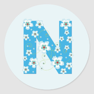 Monogram initial N pretty blue floral stickers