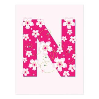 Monogram initial N pretty pink floral postcard