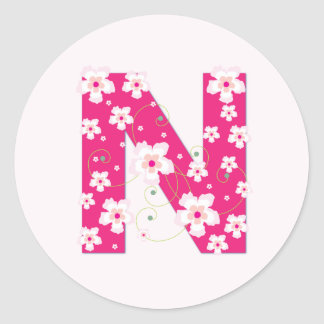 Monogram initial N pretty pink floral stickers