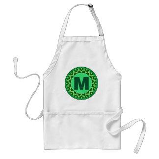 Monogram Initial name green letter alphabet m Standard Apron