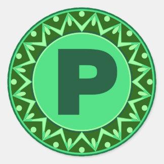 Monogram Initial name green letter alphabet p Classic Round Sticker