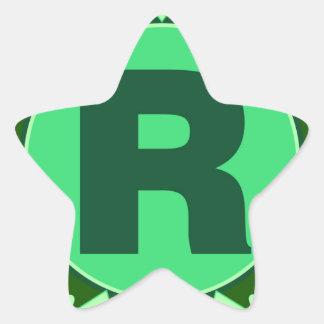 Monogram Initial name green letter alphabet r Star Sticker