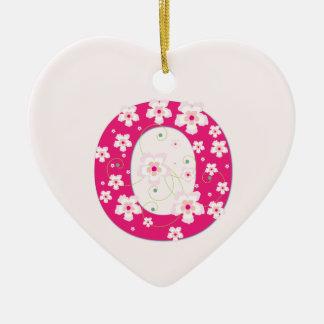Monogram initial O pretty pink floral ornament