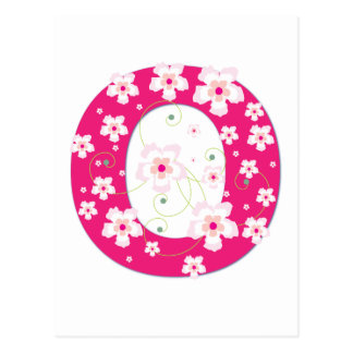 Monogram initial O pretty pink floral postcard
