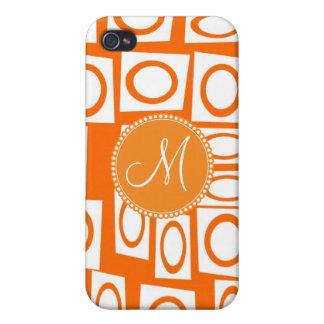 Monogram Initial Orange Fun Circle Square Pattern iPhone 4/4S Cases