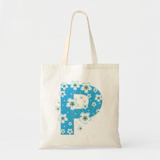 Monogram initial P floral flowery pretty tote bag