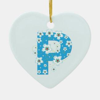 Monogram initial P pretty blue floral ornament
