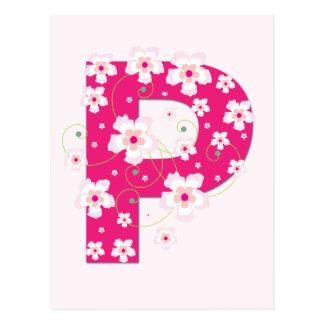 Monogram initial P pretty pink floral postcard