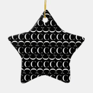 Monogram Initial Pattern, Letter C in White Christmas Ornament