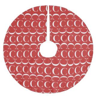 Monogram Initial Pattern Letter C, White on Red Brushed Polyester Tree Skirt