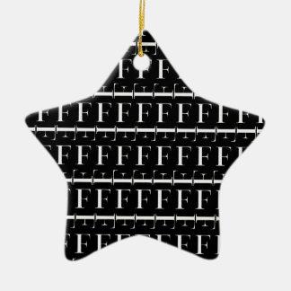 Monogram Initial Pattern, Letter F in White Christmas Ornament