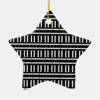 Monogram Initial Pattern, Letter H in White Christmas Ornament