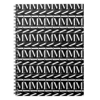 Monogram Initial Pattern, Letter M in White Notebook