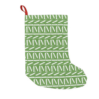 Monogram Initial Pattern, Letter M, White on Green Small Christmas Stocking