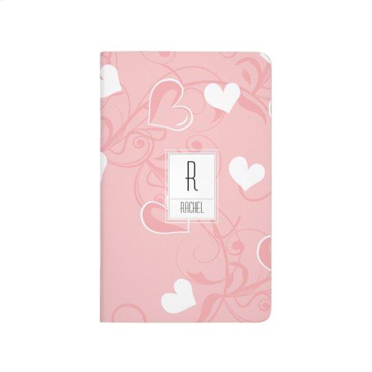 Monogram Initial Personalised Pink Hearts Journal