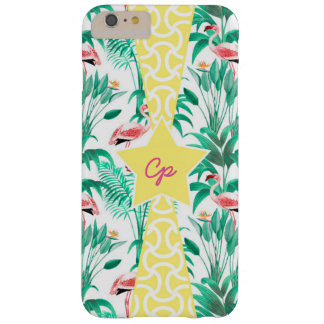 Monogram Initial Personalized Flamingo Tropical Barely There iPhone 6 Plus Case