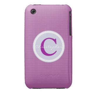 Monogram initial purple orchid iphone 3g case iPhone 3 case