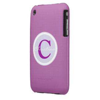 Monogram initial purple orchid iphone 3g case iPhone 3 cases