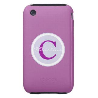 Monogram, initial purple orchid iphone 3g case iPhone 3 tough case