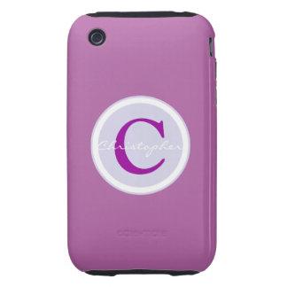 Monogram initial purple orchid iphone 3g case tough iPhone 3 cases