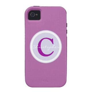 Monogram, initial purple orchid iphone 4 case