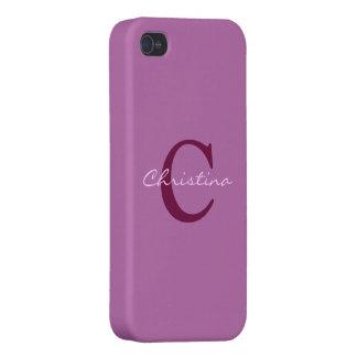 Monogram initial purple orchid iphone 4 case