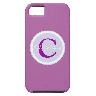 Monogram, initial purple orchid iphone 5/5s case