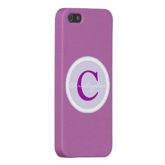 Monogram initial purple orchid iphone 5 case