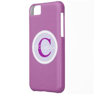 Monogram initial purple orchid iphone 5c case