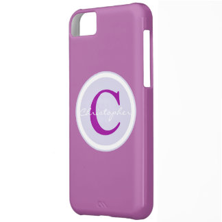 Monogram, initial purple orchid iphone 5c case