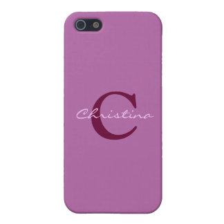 Monogram, initial purple, orchid iphone 5c case