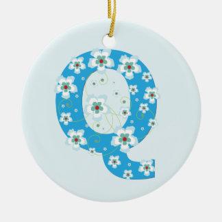Monogram initial Q pretty blue floral ornament