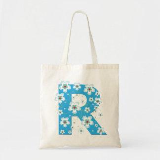 Monogram initial R floral flowery pretty tote bag