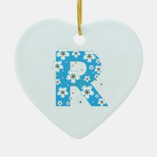Monogram initial R pretty blue floral ornament