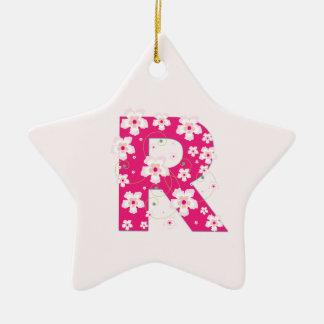 Monogram initial R pretty pink floral ornament