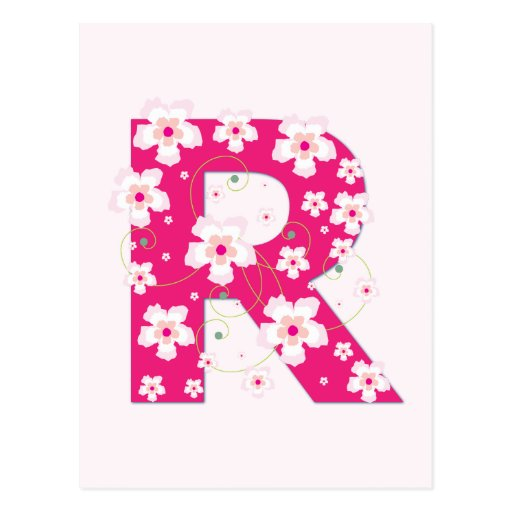 Monogram initial R pretty pink floral postcard