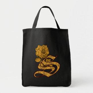 Monogram Initial S Gold Peony Tote Bag