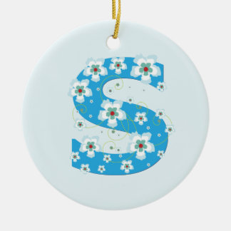 Monogram initial S pretty blue floral ornament