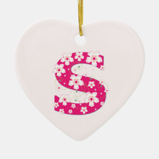 Monogram initial S pretty pink floral ornament