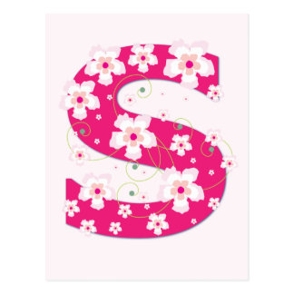 Monogram initial S pretty pink floral postcard