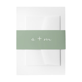Monogram Initial Simple Modern Minimalist Wedding Invitation Belly Band