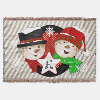Monogram Initial Snowmen on Gray Stripe Throw