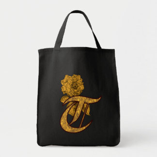 Monogram Initial T Gold Peony Tote Bag