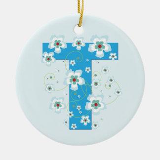 Monogram initial T pretty blue floral ornament