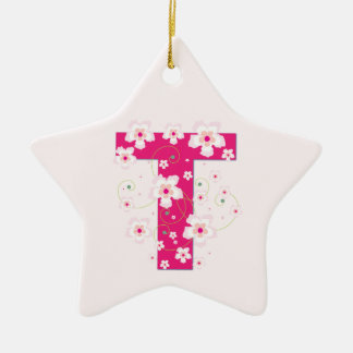 Monogram initial T pretty pink floral ornament