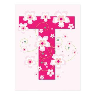 Monogram initial T pretty pink floral postcard