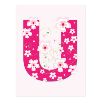 Monogram initial U pretty pink floral postcard