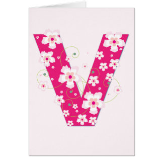 Monogram initial V pretty pink floral card