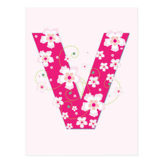 Monogram initial V pretty pink floral postcard