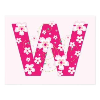 Monogram initial W pretty pink floral postcard